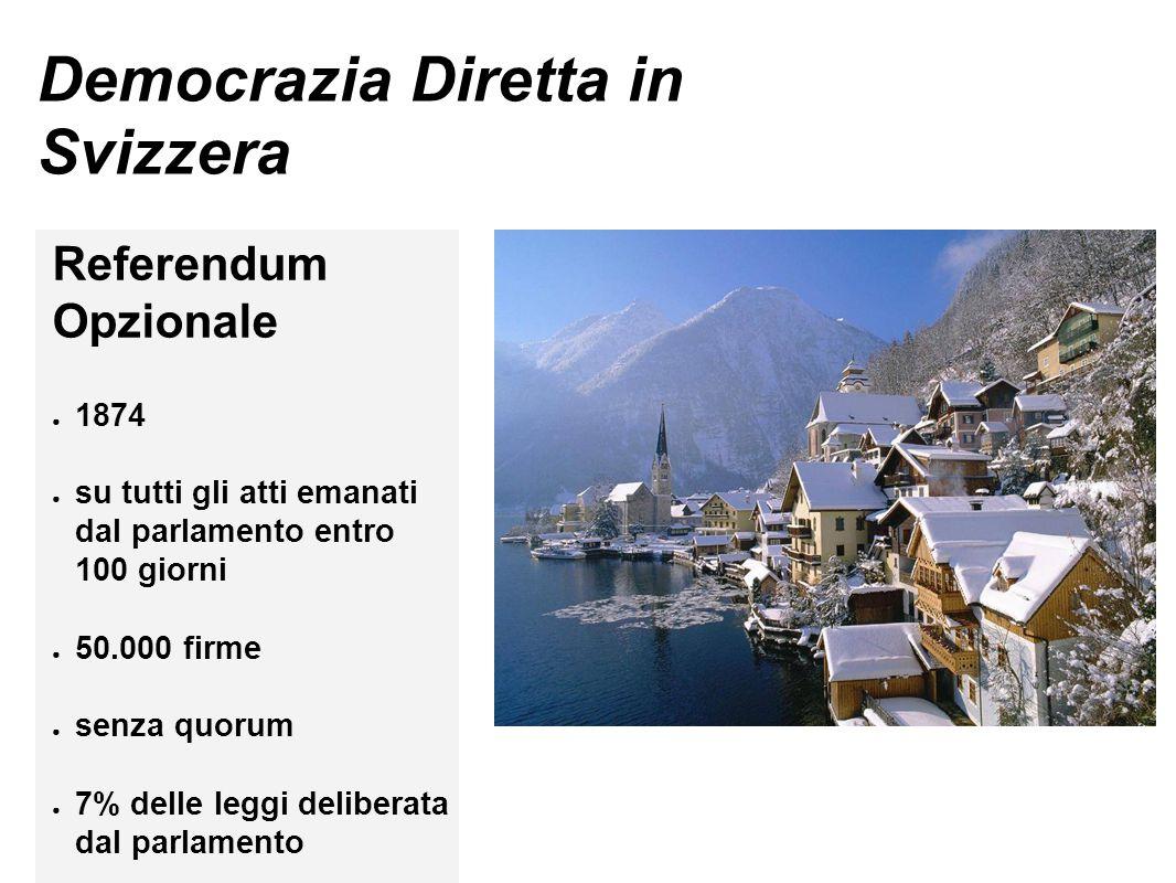 Democrazia Diretta in Svizzera Referendum Opzionale ● 1874 ● su tutti gli atti emanati dal parlamento entro 100 giorni ● 50.000 firme ● senza quorum ●