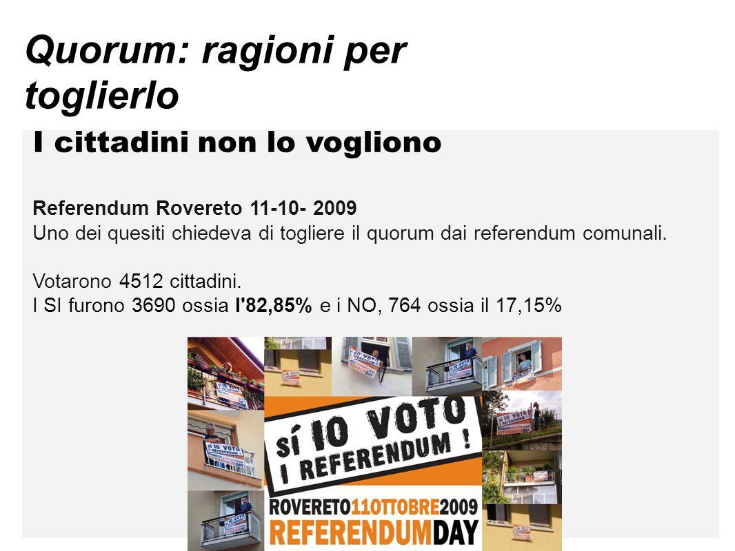 Quorum: ragioni per toglierlo I cittadini non lo vogliono Referendum Rovereto 11-10- 2009 Uno dei quesiti chiedeva di togliere il quorum dai referendu