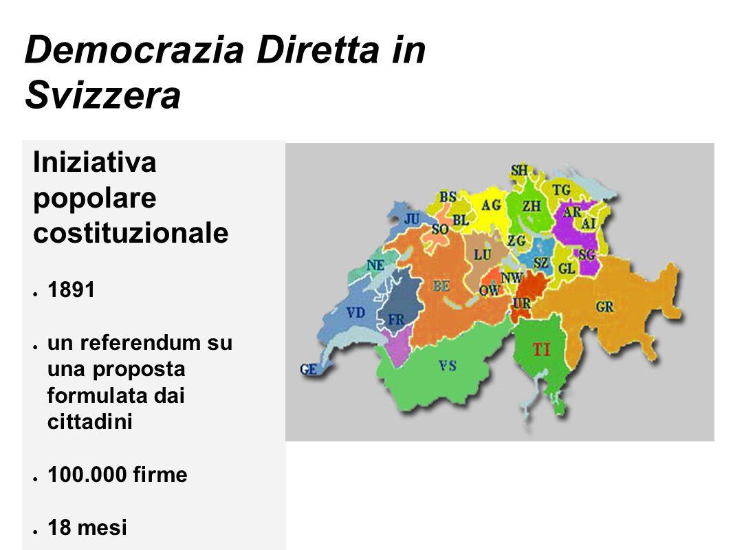 Democrazia Diretta in Svizzera Iniziativa popolare costituzionale ● 1891 ● un referendum su una proposta formulata dai cittadini ● 100.000 firme ● 18 mesi