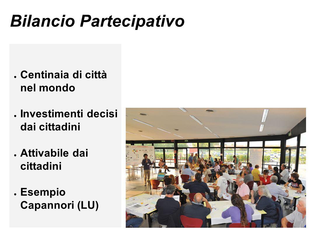 Bilancio Partecipativo ● Centinaia di città nel mondo ● Investimenti decisi dai cittadini ● Attivabile dai cittadini ● Esempio Capannori (LU)