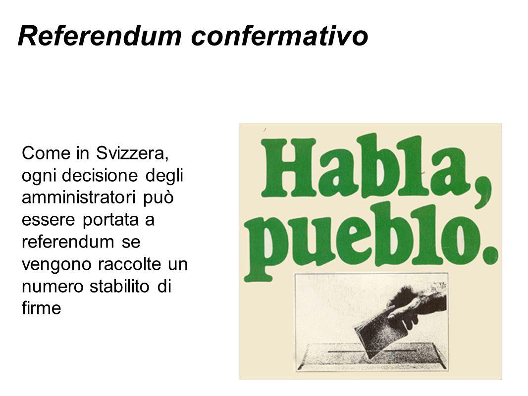 Referendum confermativo Come in Svizzera, ogni decisione degli amministratori può essere portata a referendum se vengono raccolte un numero stabilito di firme