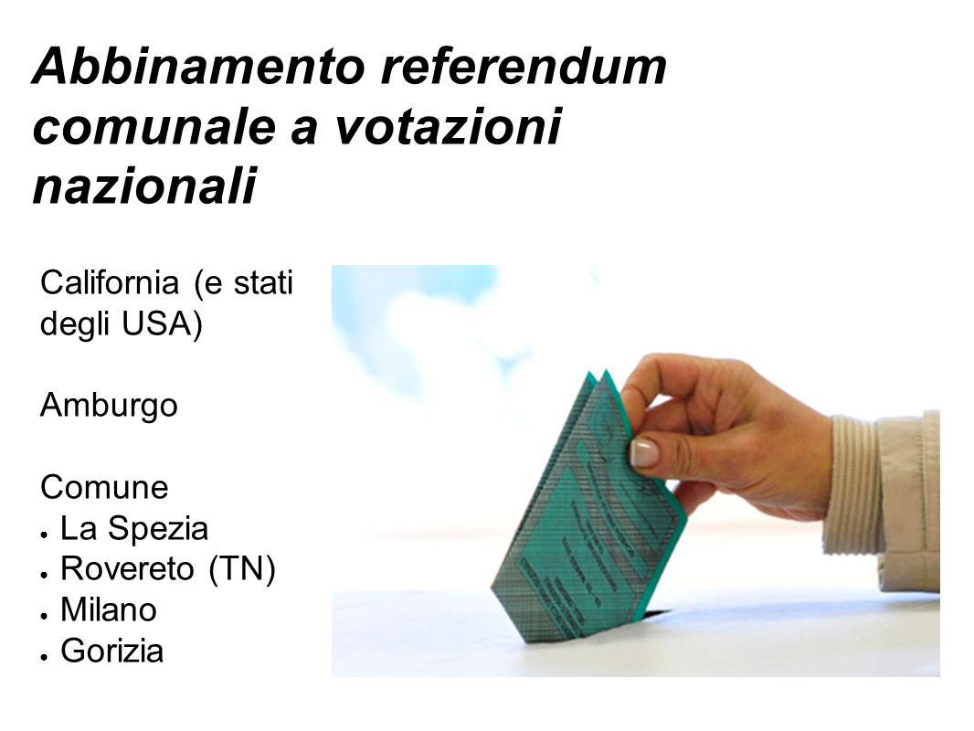Abbinamento referendum comunale a votazioni nazionali California (e stati degli USA) Amburgo Comune ● La Spezia ● Rovereto (TN) ● Milano ● Gorizia