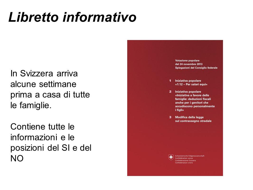 Libretto informativo In Svizzera arriva alcune settimane prima a casa di tutte le famiglie. Contiene tutte le informazioni e le posizioni del SI e del