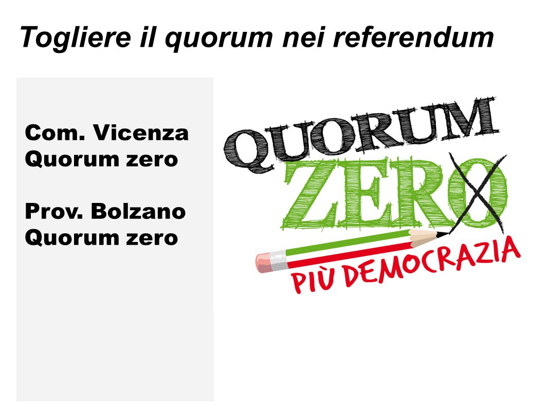Togliere il quorum nei referendum Com. Vicenza Quorum zero Prov. Bolzano Quorum zero