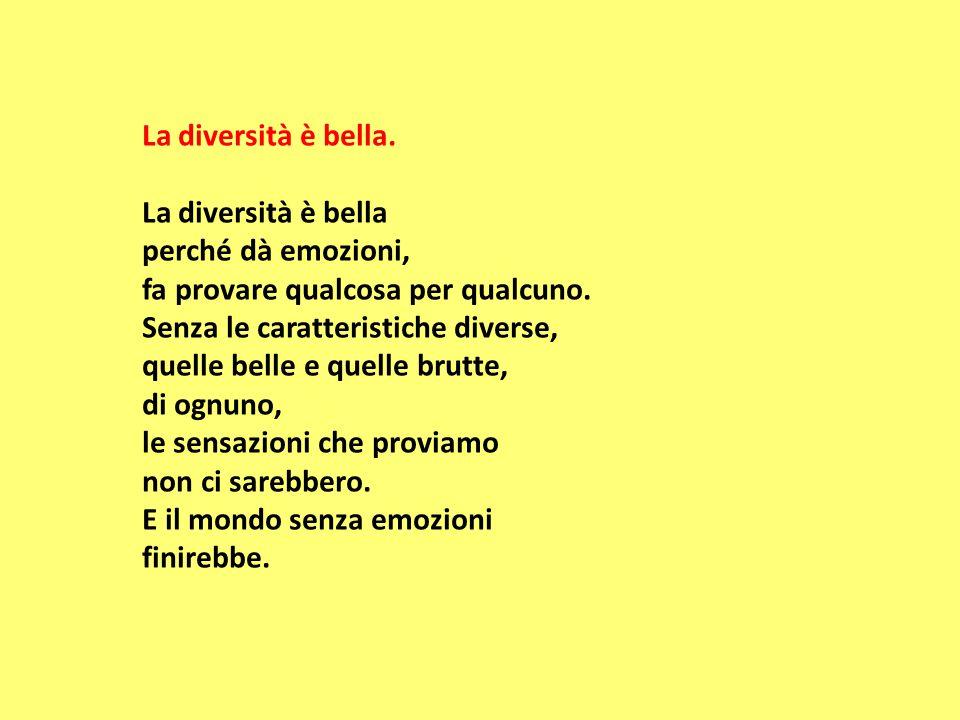 La diversità è bella. La diversità è bella perché dà emozioni, fa provare qualcosa per qualcuno. Senza le caratteristiche diverse, quelle belle e quel