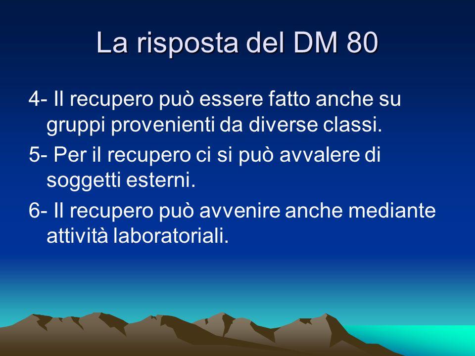 La risposta del DM 80 4- Il recupero può essere fatto anche su gruppi provenienti da diverse classi. 5- Per il recupero ci si può avvalere di soggetti
