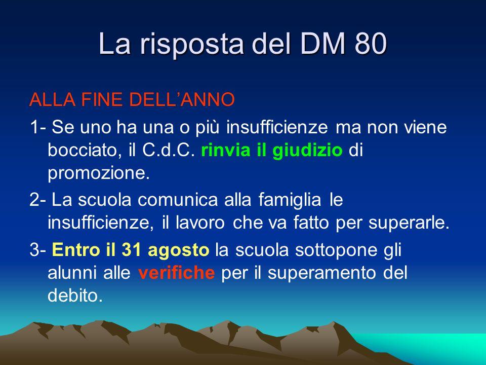 La risposta del DM 80 ALLA FINE DELL'ANNO 1- Se uno ha una o più insufficienze ma non viene bocciato, il C.d.C. rinvia il giudizio di promozione. 2- L