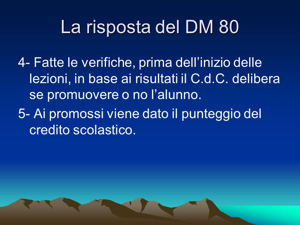 La risposta del DM 80 4- Fatte le verifiche, prima dell'inizio delle lezioni, in base ai risultati il C.d.C. delibera se promuovere o no l'alunno. 5-