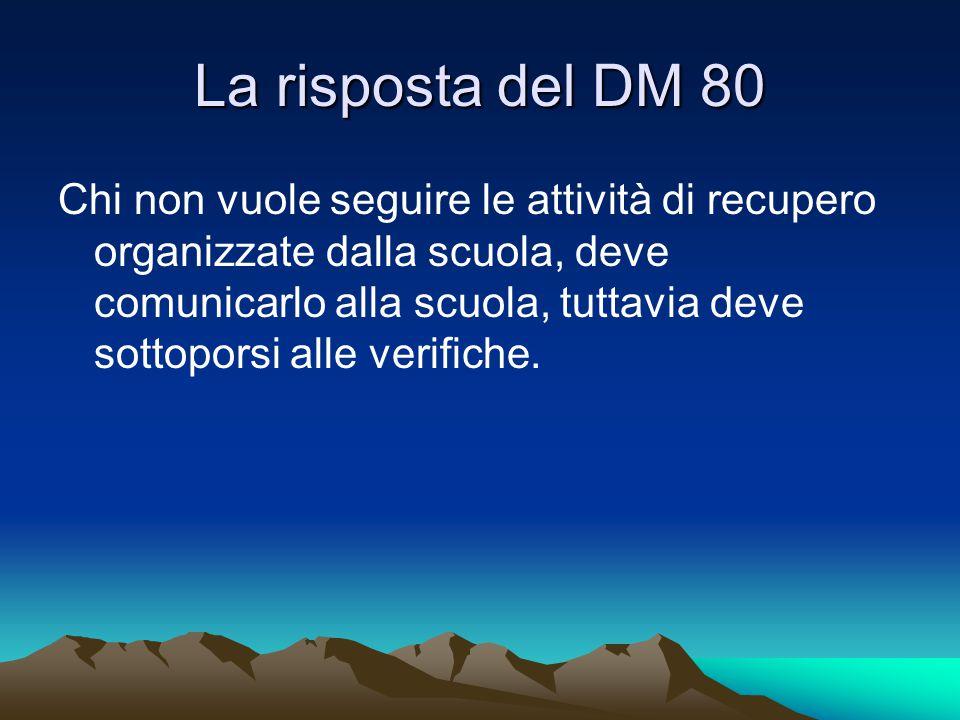 La risposta del DM 80 Chi non vuole seguire le attività di recupero organizzate dalla scuola, deve comunicarlo alla scuola, tuttavia deve sottoporsi a