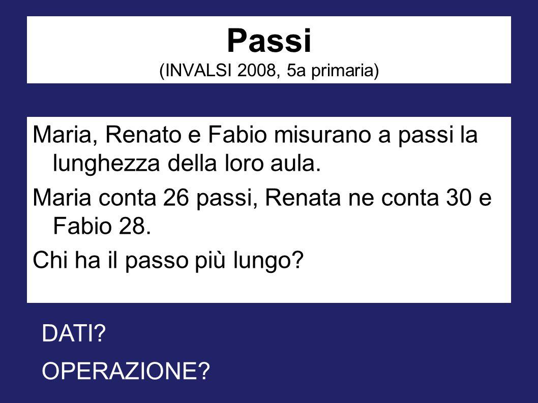 Passi (INVALSI 2008, 5a primaria) Maria, Renato e Fabio misurano a passi la lunghezza della loro aula. Maria conta 26 passi, Renata ne conta 30 e Fabi