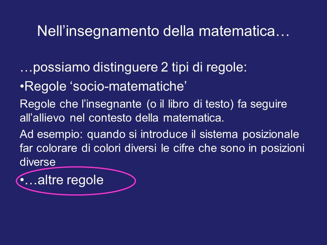 Nell'insegnamento della matematica… …possiamo distinguere 2 tipi di regole: Regole 'socio-matematiche' Regole che l'insegnante (o il libro di testo) f