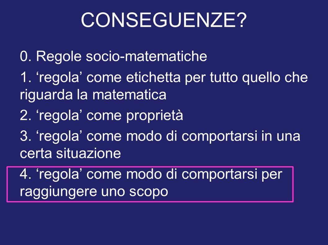 0. Regole socio-matematiche 1. 'regola' come etichetta per tutto quello che riguarda la matematica 2. 'regola' come proprietà 3. 'regola' come modo di