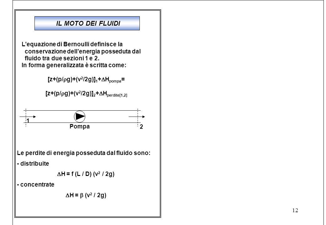12 IL MOTO DEI FLUIDI L'equazione di Bernoulli definisce la conservazione dell'energia posseduta dal fluido tra due sezioni 1 e 2.