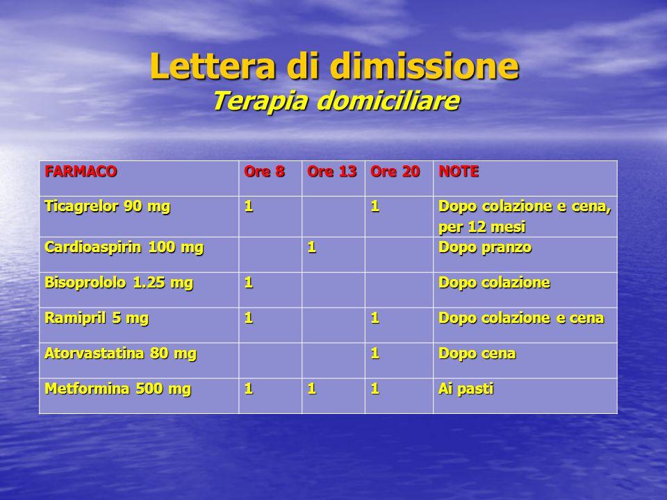 Lettera di dimissione Terapia domiciliare FARMACO Ore 8 Ore 13 Ore 20 NOTE Ticagrelor 90 mg 1 1 Dopo colazione e cena, per 12 mesi Cardioaspirin 100 m