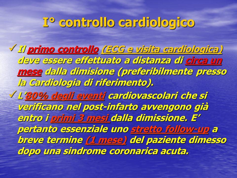 I° controllo cardiologico Il primo controllo (ECG e visita cardiologica) deve essere effettuato a distanza di circa un mese dalla dimisione (preferibilmente presso la Cardiologia di riferimento).