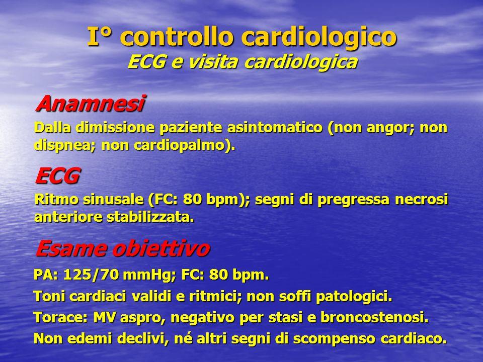 I° controllo cardiologico ECG e visita cardiologica Anamnesi PA: 125/70 mmHg; FC: 80 bpm. Toni cardiaci validi e ritmici; non soffi patologici. Torace