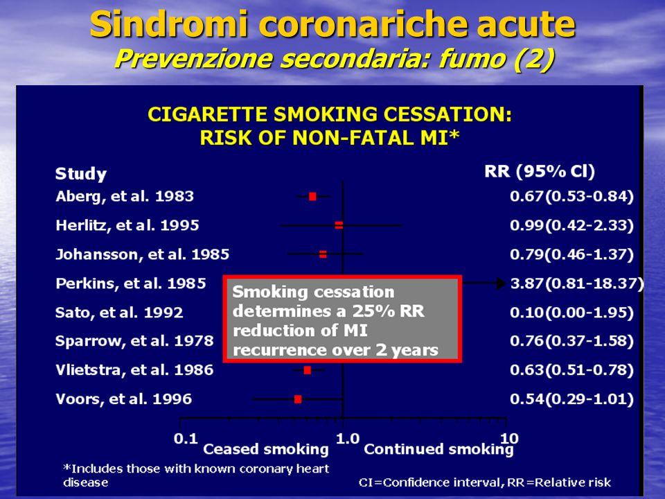 Sindromi coronariche acute Prevenzione secondaria: fumo (2)