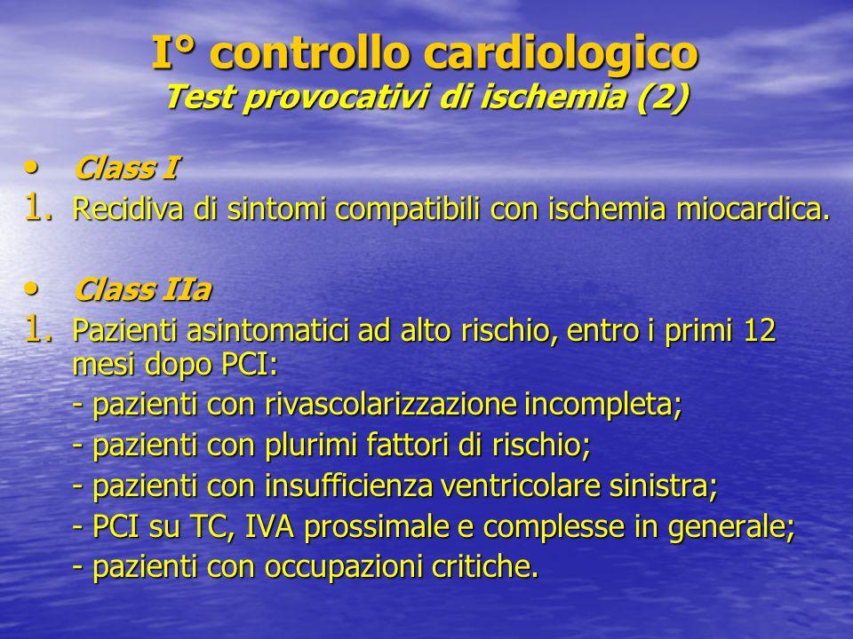 Class I Class I 1. Recidiva di sintomi compatibili con ischemia miocardica. Class IIa Class IIa 1. Pazienti asintomatici ad alto rischio, entro i prim