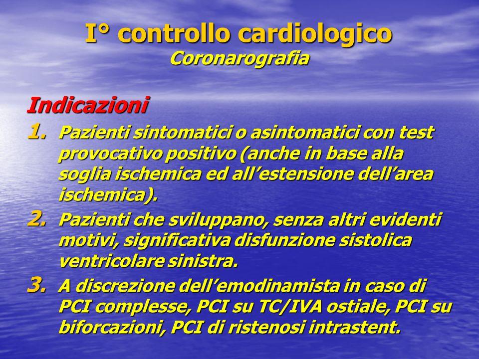 I° controllo cardiologico Coronarografia Indicazioni 1. Pazienti sintomatici o asintomatici con test provocativo positivo (anche in base alla soglia i