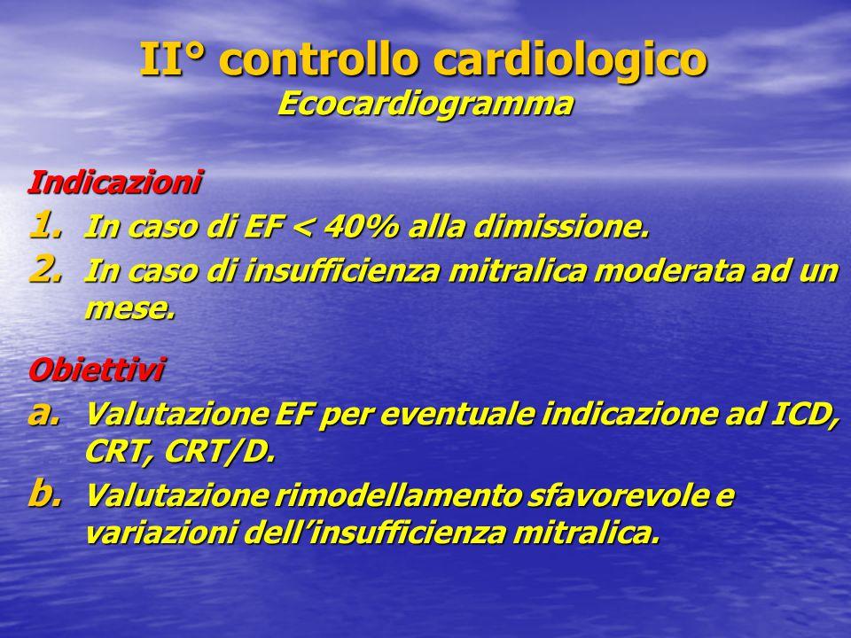 II° controllo cardiologico Ecocardiogramma Indicazioni 1. In caso di EF < 40% alla dimissione. 2. In caso di insufficienza mitralica moderata ad un me