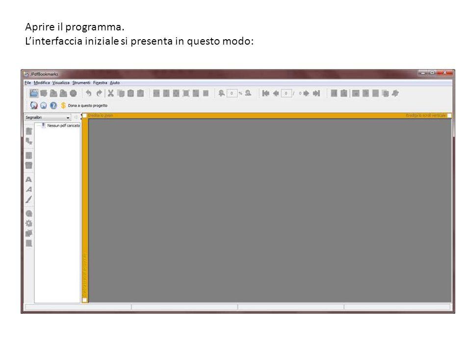 Aprire il programma. L'interfaccia iniziale si presenta in questo modo: