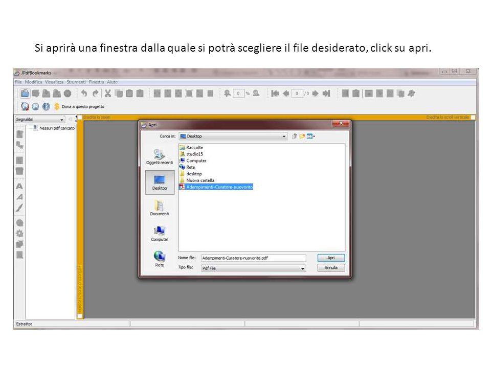 Si aprirà una finestra dalla quale si potrà scegliere il file desiderato, click su apri.