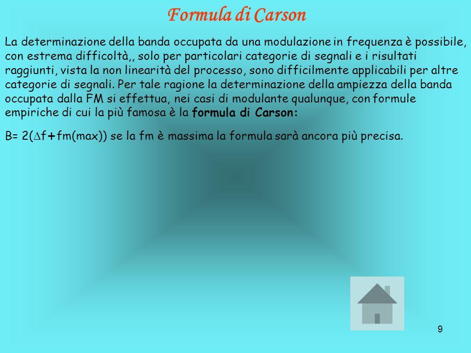 9 Formula di Carson La determinazione della banda occupata da una modulazione in frequenza è possibile, con estrema difficoltà,, solo per particolari