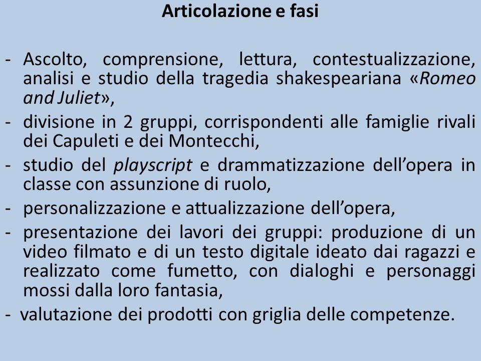 Articolazione e fasi -Ascolto, comprensione, lettura, contestualizzazione, analisi e studio della tragedia shakespeariana «Romeo and Juliet», -divisio