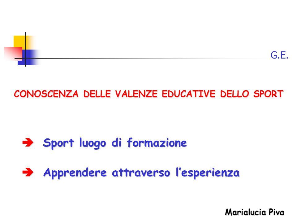CONOSCENZA DELLE VALENZE EDUCATIVE DELLO SPORT G.E.