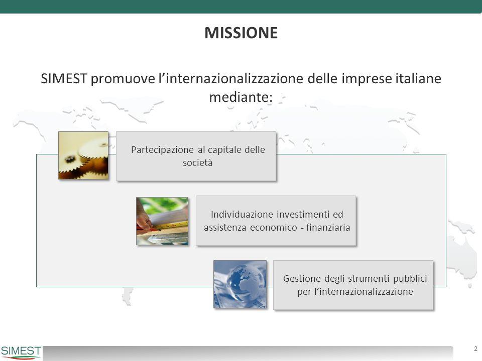 MISSIONE SIMEST promuove l'internazionalizzazione delle imprese italiane mediante: Individuazione investimenti ed assistenza economico - finanziaria G