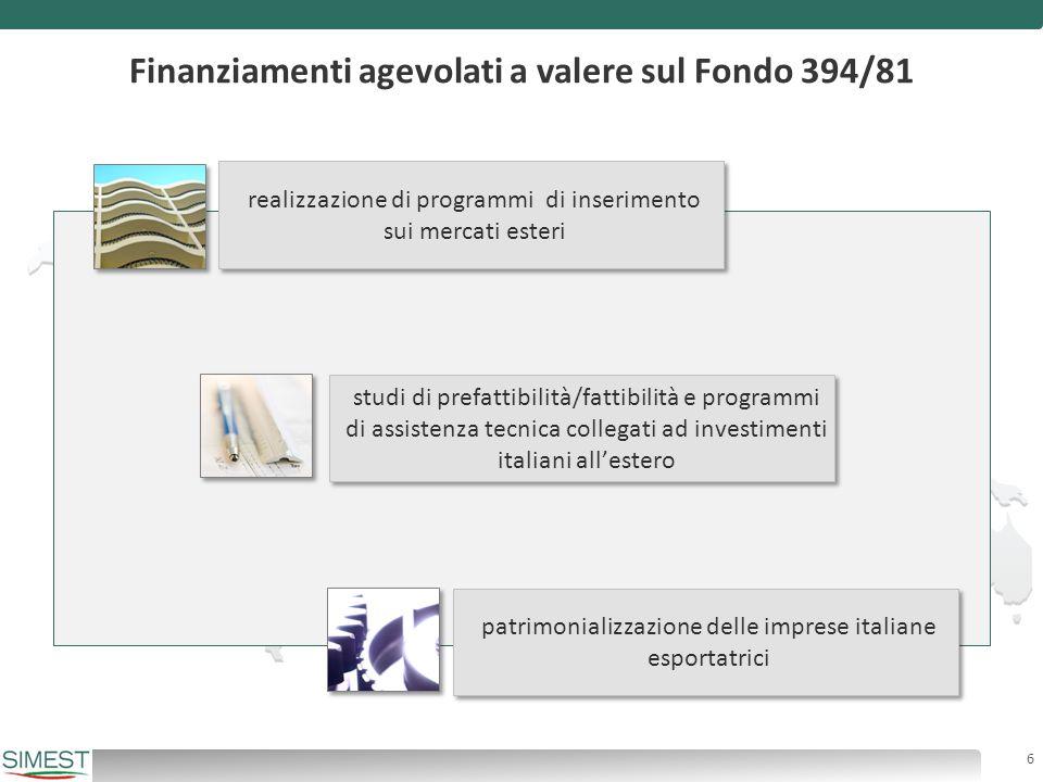 Finanziamenti agevolati a valere sul Fondo 394/81 studi di prefattibilità/fattibilità e programmi di assistenza tecnica collegati ad investimenti ital