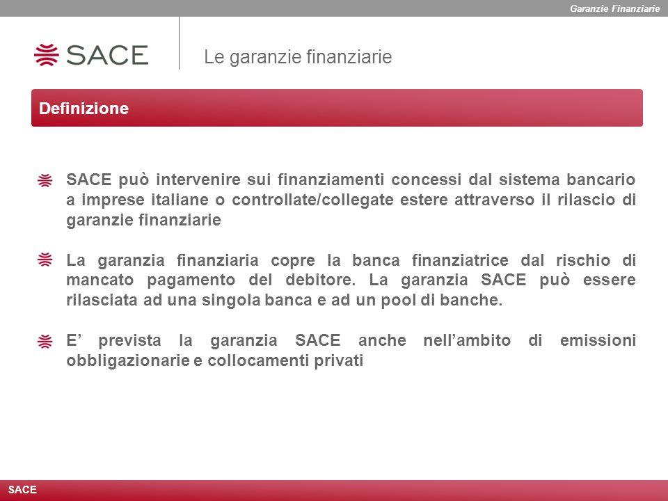 SACE può intervenire sui finanziamenti concessi dal sistema bancario a imprese italiane o controllate/collegate estere attraverso il rilascio di garanzie finanziarie La garanzia finanziaria copre la banca finanziatrice dal rischio di mancato pagamento del debitore.