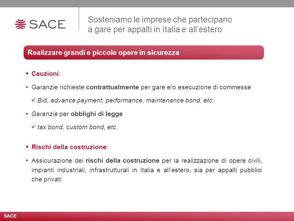 Sosteniamo le imprese che partecipano a gare per appalti in Italia e all'estero  Cauzioni: Garanzie richieste contrattualmente per gare e/o esecuzione di commesse Bid, advance payment, performance, maintenance bond, etc.