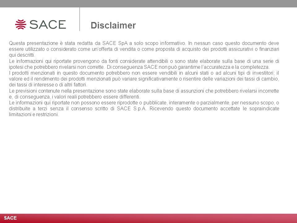SACE Disclaimer Questa presentazione è stata redatta da SACE SpA a solo scopo informativo.