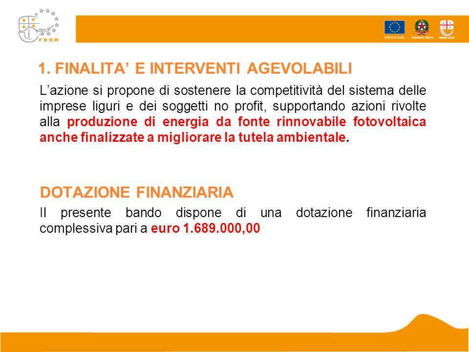 1. FINALITA' E INTERVENTI AGEVOLABILI L'azione si propone di sostenere la competitività del sistema delle imprese liguri e dei soggetti no profit, sup