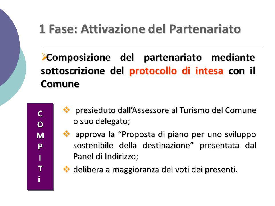 1 Fase: Attivazione del Partenariato  Composizione del partenariato mediante sottoscrizione del protocollo di intesa con il Comune  presieduto dall'