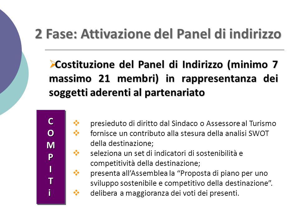 2 Fase: Attivazione del Panel di indirizzo  Costituzione del Panel di Indirizzo (minimo 7 massimo 21 membri) in rappresentanza dei soggetti aderenti