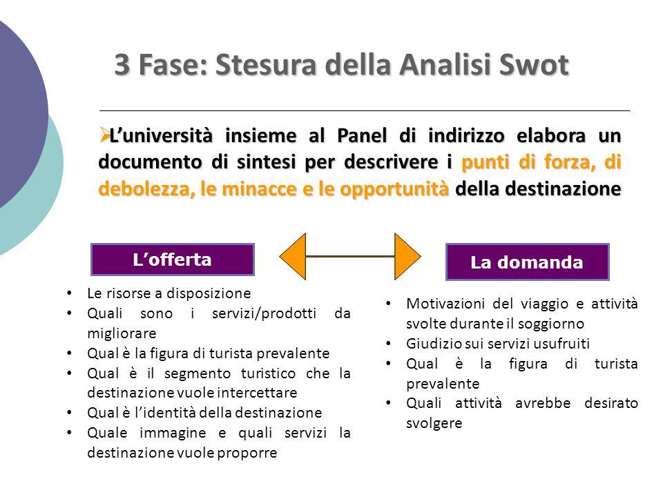3 Fase: Stesura della Analisi Swot  L'università insieme al Panel di indirizzo elabora un documento di sintesi per descrivere i punti di forza, di de