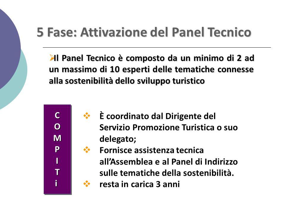5 Fase: Attivazione del Panel Tecnico  Il Panel Tecnico è composto da un minimo di 2 ad un massimo di 10 esperti delle tematiche connesse alla sosten