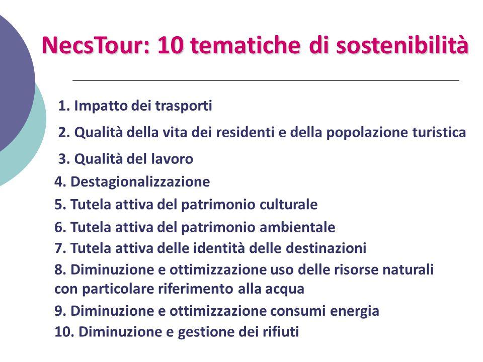 NecsTour: 10 tematiche di sostenibilità 1. Impatto dei trasporti 2. Qualità della vita dei residenti e della popolazione turistica 3. Qualità del lavo
