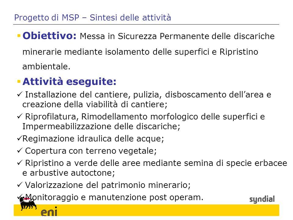 Progetto di MSP – Sintesi delle attività  Obiettivo: Messa in Sicurezza Permanente delle discariche minerarie mediante isolamento delle superfici e R
