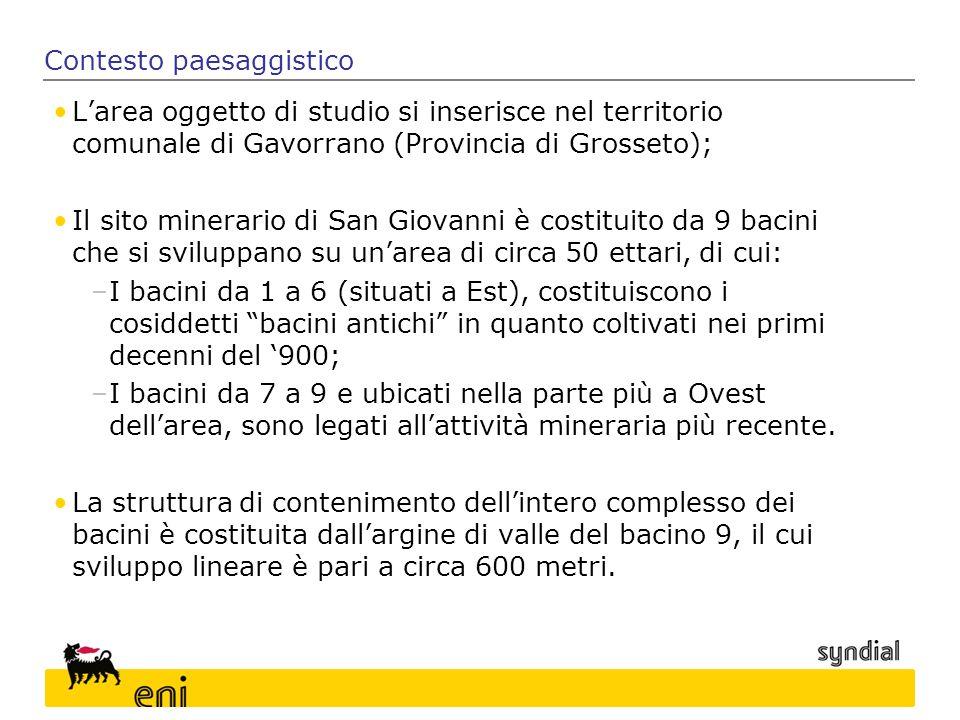 L'area oggetto di studio si inserisce nel territorio comunale di Gavorrano (Provincia di Grosseto); Il sito minerario di San Giovanni è costituito da