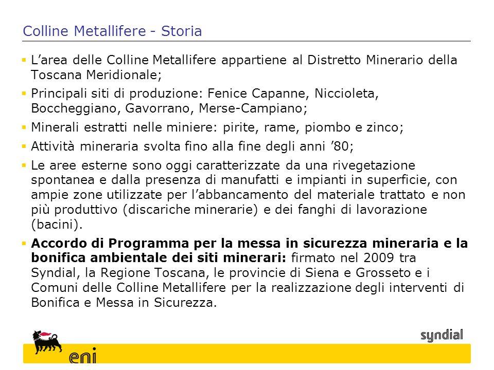 Colline Metallifere - Storia  L'area delle Colline Metallifere appartiene al Distretto Minerario della Toscana Meridionale;  Principali siti di prod