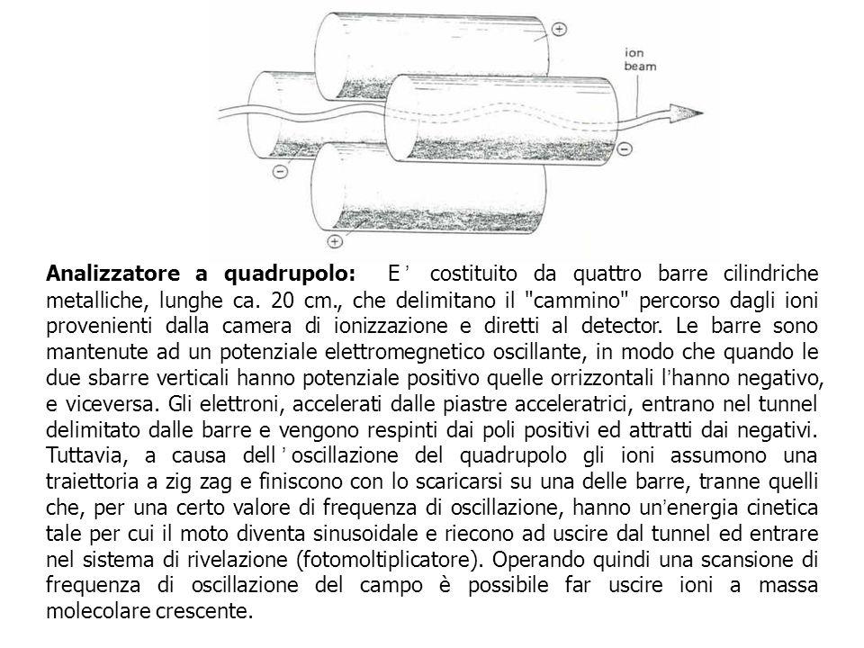 Analizzatore a quadrupolo: E' costituito da quattro barre cilindriche metalliche, lunghe ca.
