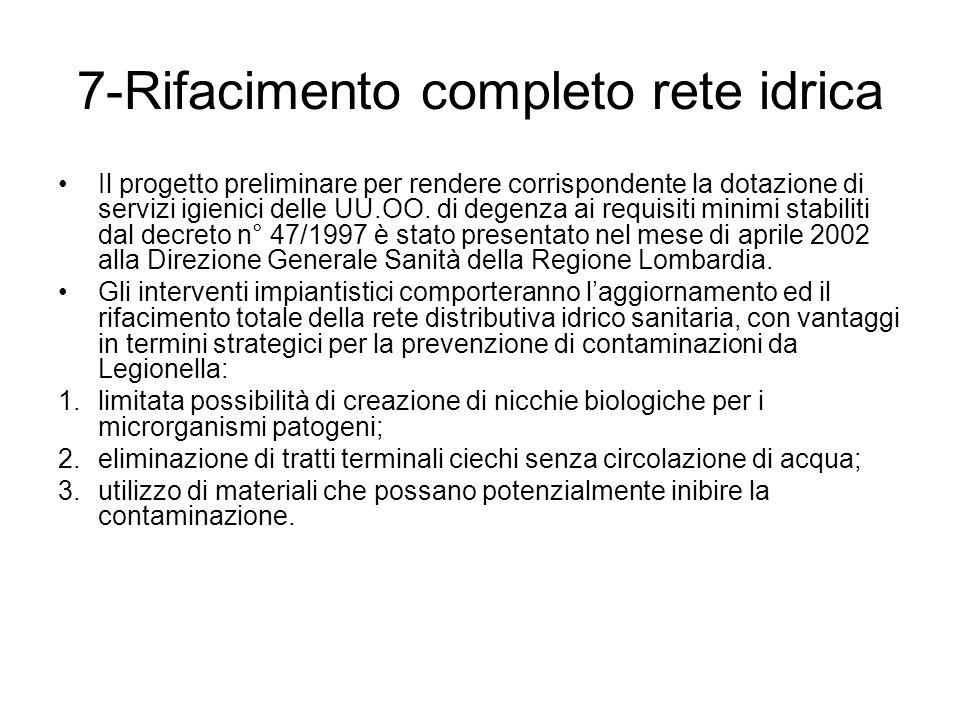 7-Rifacimento completo rete idrica Il progetto preliminare per rendere corrispondente la dotazione di servizi igienici delle UU.OO.