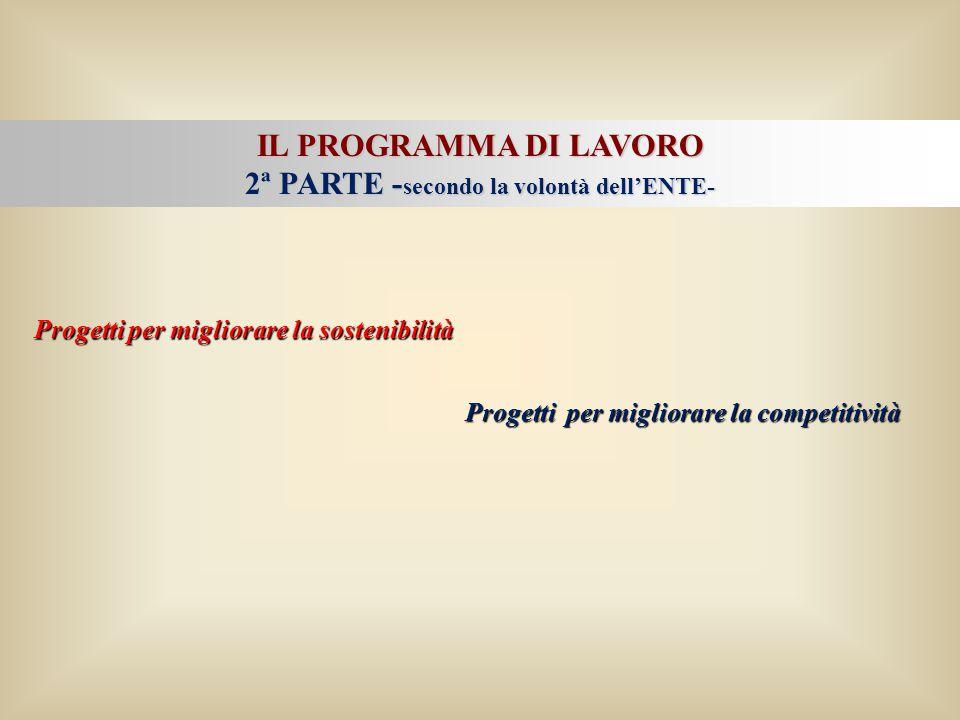 IL PROGRAMMA DI LAVORO 2ª PARTE - secondo la volontà dell'ENTE- Progetti per migliorare la sostenibilità Progetti per migliorare la competitività