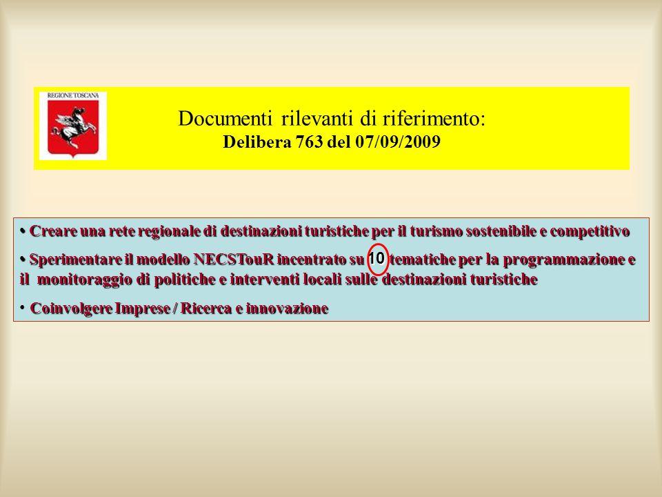 Documenti rilevanti di riferimento: Delibera 763 del 07/09/2009 Creare una rete regionale di destinazioni turistiche per il turismo sostenibile e comp