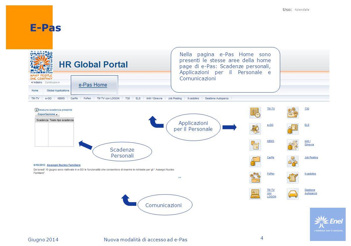 Giugno 2014Nuova modalità di accesso ad e-Pas Uso: Aziendale 4 E-Pas Nella pagina e-Pas Home sono presenti le stesse aree della home page di e-Pas: Sc
