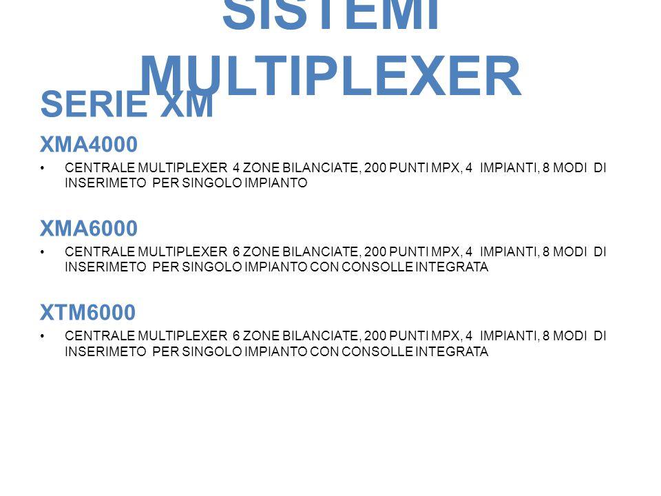 SISTEMI MULTIPLEXER SERIE XM XMA4000 CENTRALE MULTIPLEXER 4 ZONE BILANCIATE, 200 PUNTI MPX, 4 IMPIANTI, 8 MODI DI INSERIMETO PER SINGOLO IMPIANTO XMA6