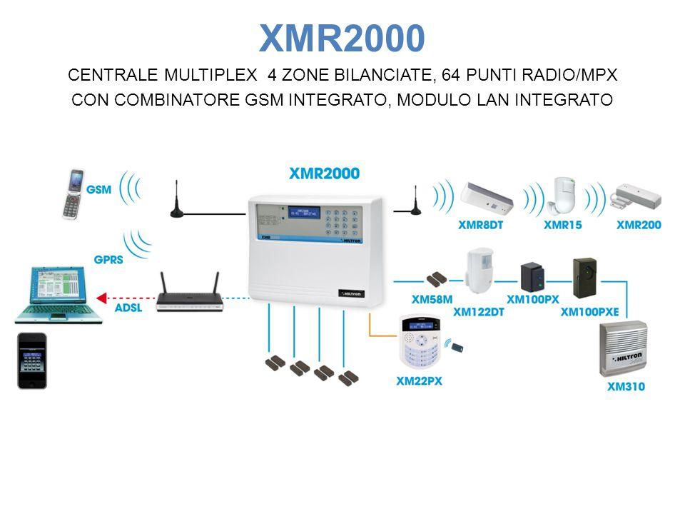 XMR2000 CENTRALE MULTIPLEX 4 ZONE BILANCIATE, 64 PUNTI RADIO/MPX CON COMBINATORE GSM INTEGRATO, MODULO LAN INTEGRATO